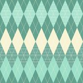 Traditional argyle diamond pattern in turquoise and beige seamless pattern — Stock Vector