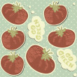 Royalty-Free Stock Immagine Vettoriale: Go green retro tomatoes on polka dots seamless pattern with blue background