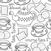 Tea time monochrome seamless pattern with porcelain and cookies on white background — Stock Vector