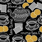 Tea time seamless pattern with porcelain and cookies on dark background — Stock Vector
