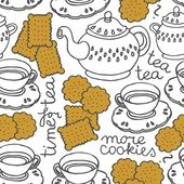 Tea time seamless pattern with porcelain and cookies on white background — Stock Vector