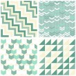 Stock Vector: Turquoise white beige chevron arrows cubes triangles retro traditional geometric seamless pattern set