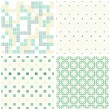 Stock Vector: Turquoise white beige squares and dots retro traditional geometric seamless pattern set