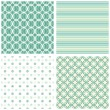 Turquoise white beige stripes dots circles retro traditional geometric seamless pattern set - Stock Vector