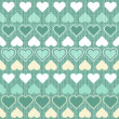 Turquoise beige white hearts in rows on patterned turquoise background regular geometric seamless pattern — Stock Vector