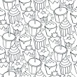 So many decorated cupcakes monochrome sweet seamless pattern on white background — Stock Vector