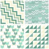 Turquoise white beige chevron arrows cubes triangles retro traditional geometric seamless pattern set — Stock Vector
