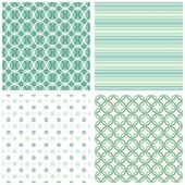 Turquoise white beige stripes dots circles retro traditional geometric seamless pattern set — Stock Vector