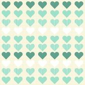 Turquoise beige white hearts in rows on patterned light background regular geometric seamless pattern — Stock Vector