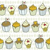 So many decorated cupcakes in rows on light patterned background sweet colorful seamless pattern — Stock Vector