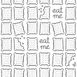 """eat me"" square cookies monochrome sweet seamless pattern on white background — Stock Vector"
