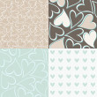 Stock Vector: Blue brown beige white hearts seamless pattern valentines backgrounds set