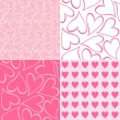 Pink and white hearts seamless pattern valentines backgrounds set — Stock Vector