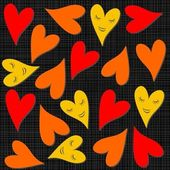 Yellow orange red smiling hearts on dark background seamless pattern — Stock Vector