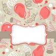 Red beige brown delicate party time background with balloons confetti and serpentines with frame and ribbon — Stock Vector