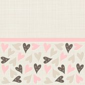 Pink beige brown smiling hearts on light with ribbon horizontal seamless pattern — Stock Vector