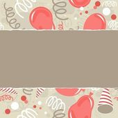 Red brown beige white party time background with balloons confetti and serpentines card background torn with place for your text — Stock Vector