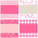 Pink hearts romantic horizontal paper set — Stock Vector