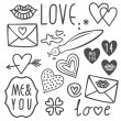 Simple hand drawn gray love doodles isolated on white background valentines day set — Stock Vector