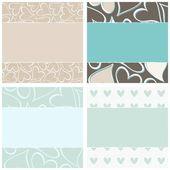 Blue hearts romantic horizontal paper set — Stock Vector