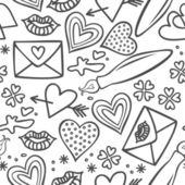 Simple hand drawn gray love doodles isolated on white background seamless pattern — Stock Vector