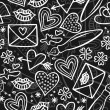 Simple hand drawn gray and white love doodles isolated on dark background seamless pattern — Stock Vector