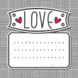 Gray white big label love on gray patterned background — Stockvektor