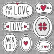 Set of 7 hand drawn love sign labels with hearts text and grunge effect on light patterned gray background — Stock Vector