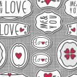 Hand drawn love sign labels with hearts text and grunge effect on light patterned gray background seamless pattern — Stock Vector