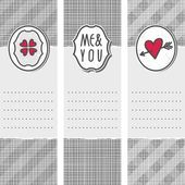 Set of three long valentines day love romantic cards in gray white and red with heart clover me and you sign and pierced heart — Stock Vector