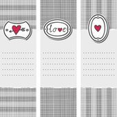 Set of three long valentines day love romantic cards in gray white and red with pierced heart love sign and heart on label — Stock Vector