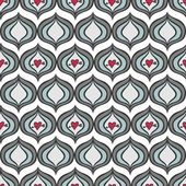 Retro gray blue onion shaped elements with red pierced hearts abstract geometric seamless pattern on white background — Stock Vector