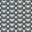 Retro gray blue vertical rows of hearts abstract geometric seamless pattern on white background — Vettoriali Stock
