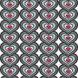 Retro gray blue red vertical rows of hearts abstract geometric seamless pattern on white background — Vettoriali Stock