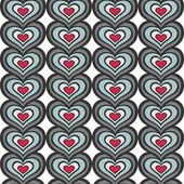 Retro gray blue red vertical rows of hearts abstract geometric seamless pattern on white background — Stock Vector