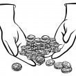 Lots of coins in hands monochrome black and white business/finance illustration — Stock Vector