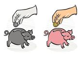 Putting coins/money into saving piggy monochrome and colorful business/finance illustration — Stock vektor