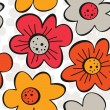 Stock Vector: Spring summer blooming meadow yellow orange red gray flowers on white patterned background seamless pattern