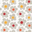 Stock Vector: Gray white yellow orange red botanical seamless pattern with blooming meadow flowers on white background