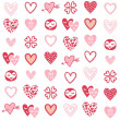 Stock Vector: Pink red different heart designs on white background romantic seamless pattern