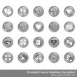 20 romantic love Valentine's Day related monochrome glossy button icon set isolated on white background — Stock Vector