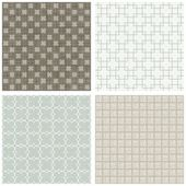 Blue beige brown white square cross hatch clover winter colors geometric seamless pattern set of scrapbook backgrounds — Stock Vector
