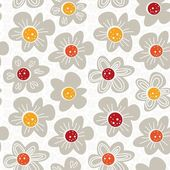 Gray white yellow orange red botanical seamless pattern with blooming meadow flowers on white background — Stock Vector