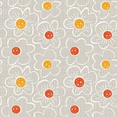Beige white yellow orange red botanical seamless pattern with blooming meadow flowers on light background — Stock Vector