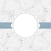 White and blue border hearts on light patterned background with white frame and blue ribbon horizontal background — Stock Vector
