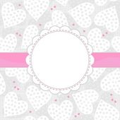 White and pink dotted hearts on light patterned background with white frame and pink ribbon horizontal background — Stock Vector