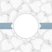 White and blue dotted hearts on light patterned background with white frame and blue ribbon horizontal background — Stock Vector