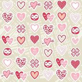 Pink red different heart designs on messy beige background romantic seamless pattern — Stock Vector