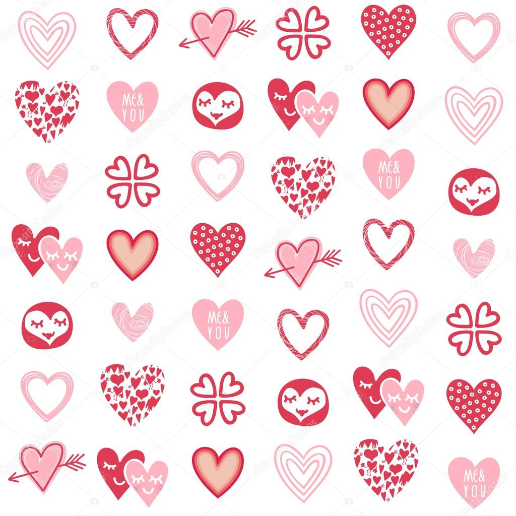 Pink Red Different Heart Designs On White Background
