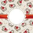 White beige yellow orange red animal childish seamless pattern with little teddy bears holding hearts and round frame on red ribbon with place for your text scrapbook background - Stock Vector